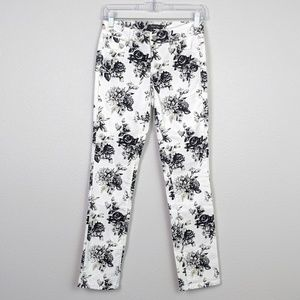 WHBM Floral Print Slim Ankle Jeans Size 00
